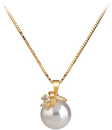 Akoya White Pendant - Luella White 7-8mm AAA Quality Japanese Akoya 14K Yellow Gold Cultured Pearl Pendant