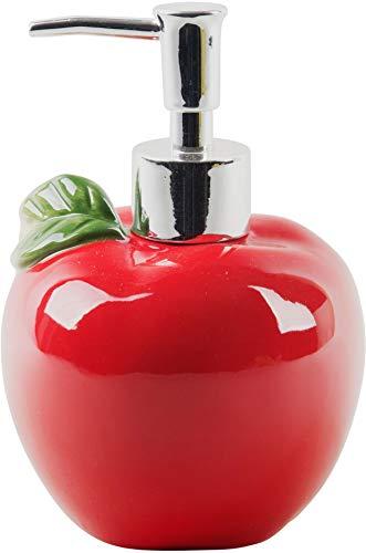 Home Essentials Ceramic Apple Shaped Soap Dispenser- Lotion Dispenser for Kitchen or Bathroom Countertops