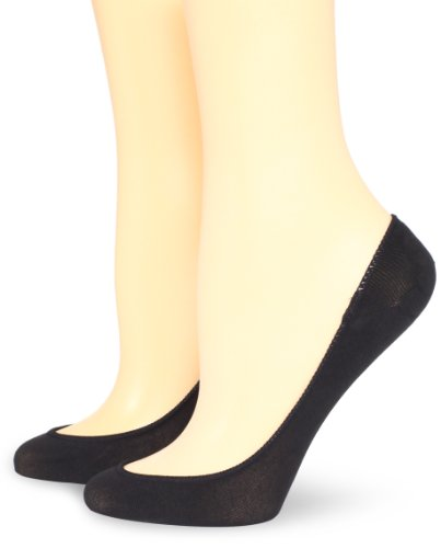 Hue Women's 2 Pair Pack Ultra Low Cut No Show Liner Sock, Black, Medium/Large ()