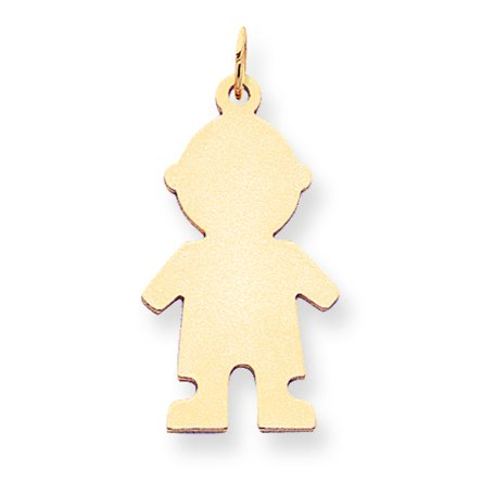 14k Yellow Gold Solid Polished Engravable Plain Medium .018 Gauge Engraveable Boy Charm (Gauge Engraveable Boy Charm)
