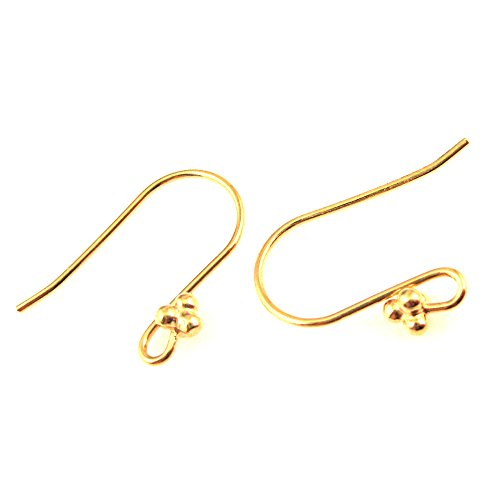 22K Gold plated over 925 Sterling Silver - Fancy Earwire with 3 Ball End (4 Pcs - 2 Pairs)