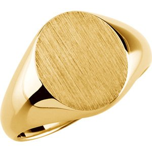 18K Yellow Gold Gents Solid Oval Signet Ring W, Size: 10