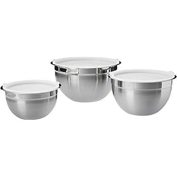 AmazonBasics Stainless Steel 3-Piece Mixing Bowl Set