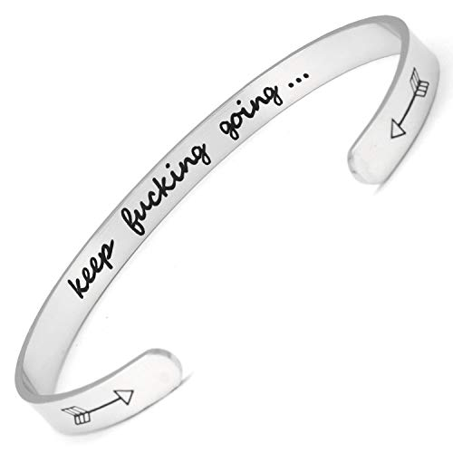 f73c6173c301d Bracelets Inspirational Gifts for Women, Inspirational Bracelet Cuff Bangle  Mantra Quote Keep Going Stainless Steel Engraved Motivational Friend, ...