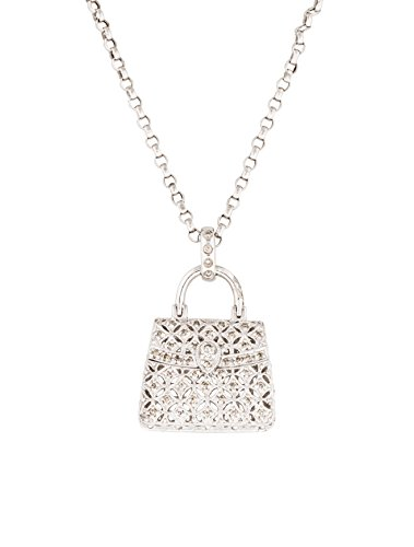 Diamond Handbag Pendant Necklace 14K White Gold 1/2 Carat Diamonds