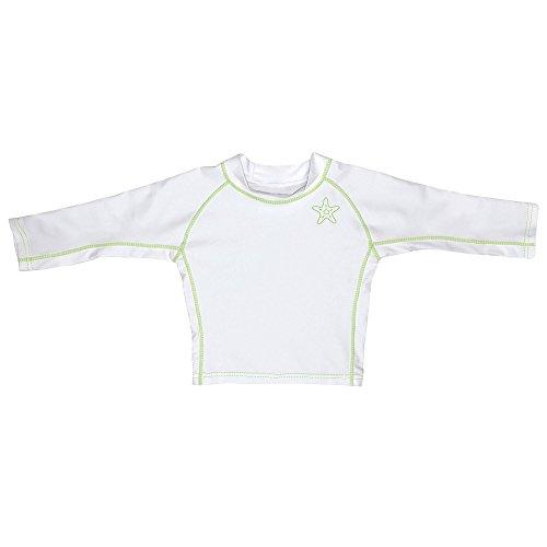 i play. Long Sleeve Rashguard Shirt | All-day UPF 50+ sun protection-wet or dry,White Classic,12 months