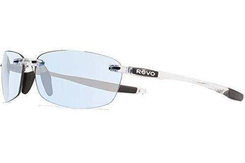 Revo part of the Serilium Collection, Descend E Sunglasses, Crystal Frame, 64mm Lenses, Blue - Glass Revo Sunglasses Lens