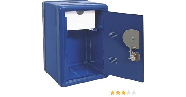 Caja fuerte azul hucha con llave y combinaci—n. Medidas 12x10x18cm: Amazon.es: Hogar
