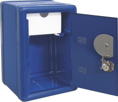 Caja fuerte azul hucha con llave y combinaci—n. Medidas 12x10x18cm