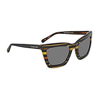 Coach Women's HC8203 Sunglasses Blk Amber Gltr Varsity