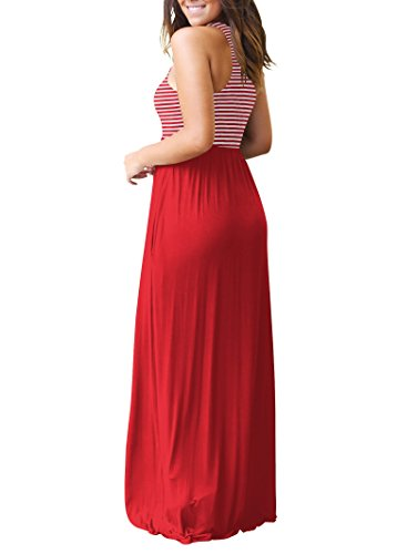 Rojeam Manches Manches Femmes Rouge Dcontracte Longue Robe pour sans sans qpvpwOC