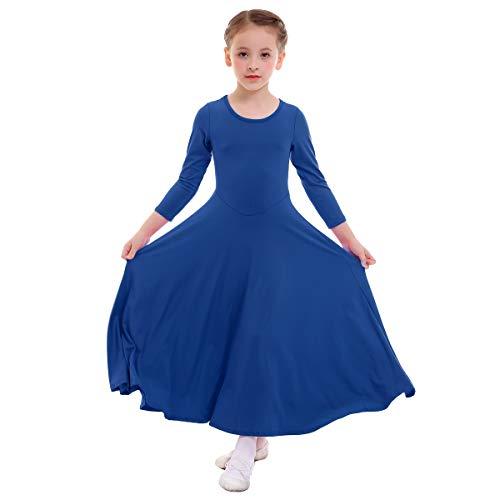 (Girl Kid Classics Liturgical Praise Long Sleeve Lyrical Dance Dress Worship Praise Dance Pullover Pleated Dresses All Saints' Day Lent Christmas Lyrical Maxi Skirts Chanukah Royal Blue 11-12 Years)