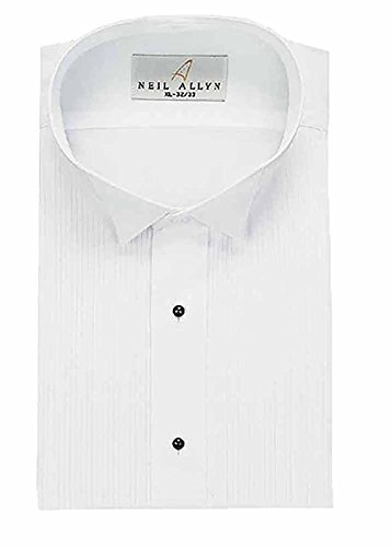 Men's Tuxedo Shirt Poly/Cotton Wing Collar 1/8 Inch Pleat - (14.5 - 30/31) (Pleat Front Wing)
