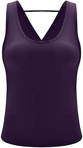 Boyuanweiye001 セクシーな女性のヨガのシャツオープンバックはベストを実行ノースリーブスポーツシャツオープンバックタンクサイクリングワークアウトフィットネスシャツトップス (色 : 紫の, サイズ : S)