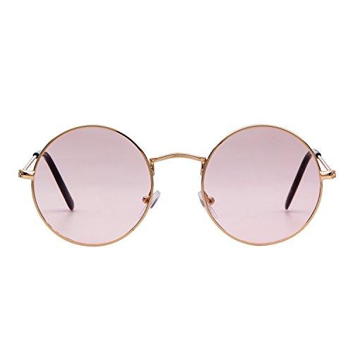 redondas en metal A transparente Lente Marco Gold Gafas retro Rosa Unisex vintage Adewu 15HBqwH