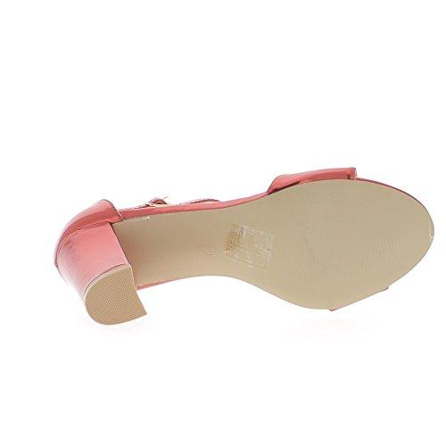 Tacco 8, 5cm aspetto metallico quadrato rosso sandali