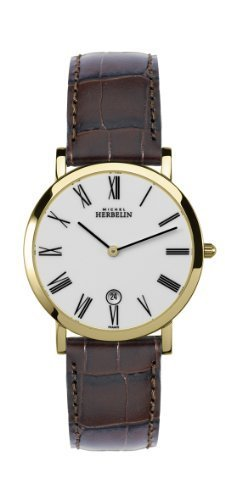Michel Herbelin Men's Quartz Watch with White Dial Analogue Display and Brown Leather Strap 413/P01MA