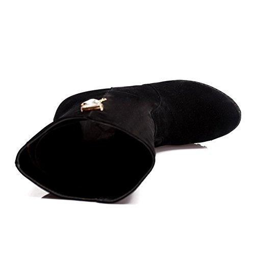 AllhqFashion Mujeres Plataforma Caña Media Sin cordones Tachonado Botas con Diamante Negro