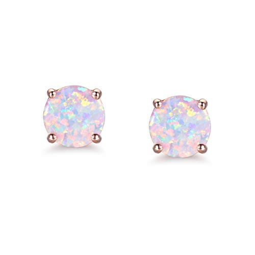 CERSLIMO Opal Stud Earrings for Womens 18K Rose Gold Plated Earings Girl 4mm Round Christmas Gift (18ct Plate Gold White)