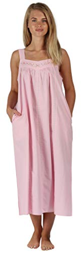 The 1 for U Nightgown 100% Cotton Sleeveless + Pockets Meghan (XS, Pink)