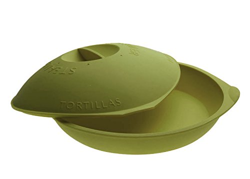 Siliconezone SZ04KS-10491AU Tortilla Warmer and Vegetable Steamer, Discus, Green