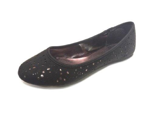 Olivia Miller Womens Cutout Metallic Underlay PU Ballet Black Bli722rCP
