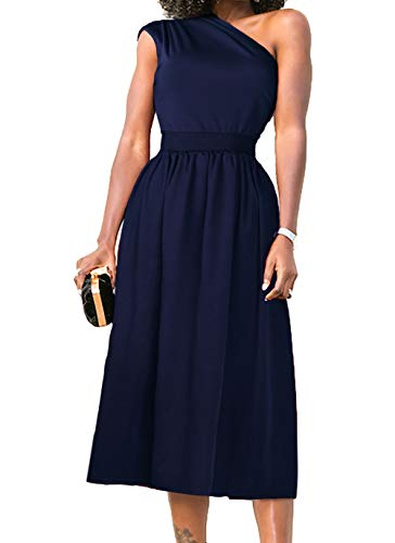 Nashion Women One Shoulder Sleeveless Vintage Casual Formal Cocktail Party Wrap Midi Dress Navy Blue,XL (Blue Cocktail Navy)