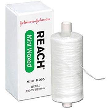 J&J Reach Reach Dental Floss, Retail Pkg, Mint Waxed, 200 yds, 3/bx, 8bx/cs 117604