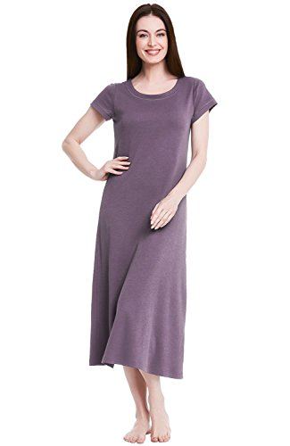 Alexander Del Rossa Womens Cotton Knit Nightgown, Long Short Sleeve Sleep Dress, Large Pebble (A0405PBLLG)