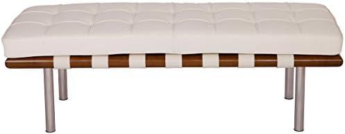 MLF Pavilion Bench 4 Colors 2 Sizes . High Resilient Foam. Italian Leather. Breathability, Steady, Durable, Artistic. Mattress Detachable. 120 cm White Cream Light Walnut