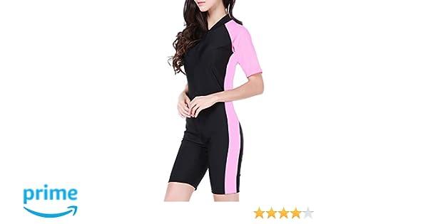 besbomig Traje de Buceo para Mujer Sport Traje de Surf - Playa Anti-UV Shorty Wetsuits para Surf Snorkeling Buceo Traje de baño, No es la Neopreno