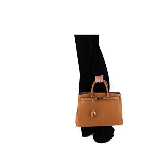 ROUVEN Camel Braun & Gold ICONE 40 Tote Bag Damen Leder Tasche Handtasche groß edel modern chic (40x28x19cm)