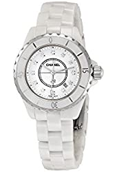 Chanel J12 White Ceramic 33 mm. Diamond Dial Quartz Watch - H1628