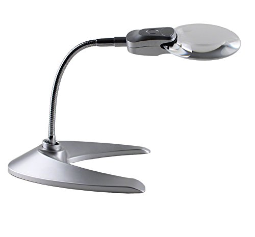 Quality Optics - Jewelers LED Illuminated Work Desk Top Magnifier Lamp Light Flex Neck Coin Paper