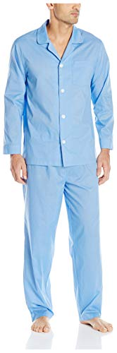 (Fruit of the Loom Men's Solid Long Sleeve Broadcloth Pajama Set, French Blue, X-Large)