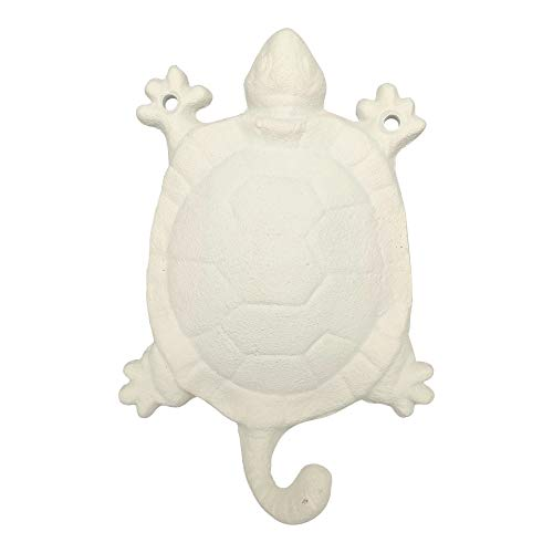 Comfy Hour Cast Iron Turtle Single Key Coat Hook Clothes Rack Wall Hanger, Heavy Duty, White, Recycled