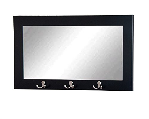 Matte Black Pub Wall Mirror with Utility Hooks