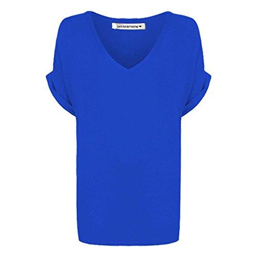 Janisramone mujeres holgado giro arriba tamaño flojo ajuste murciélago ala v manga corta cuello 8-20 Real azul