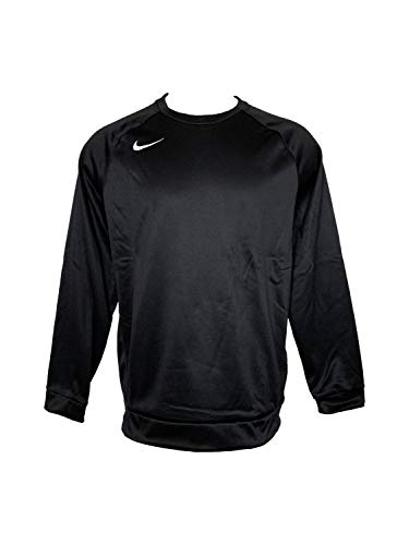 (Nike Men's Dri-Fit Crew Neck Sweatshirt Performance Long-Sleeve Sweatshirts (Large, Black/White))