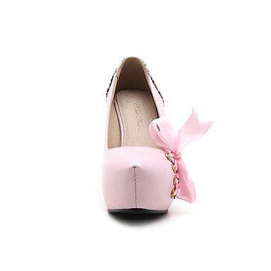 Talones de las mujeres Zapatos Primavera Verano Otoño Invierno club de cuero para oficina y del partido de la carrera y del vestido de noche del tacón de aguja BowknotBlack rosa Pink