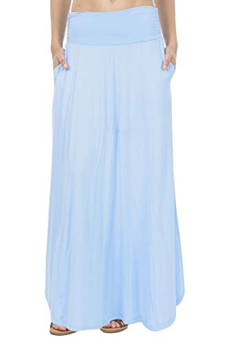(SHOP DORDOR 9014 Women's High Waist Shirring Flared Maxi Skirt with Pockets Baby Blue S )