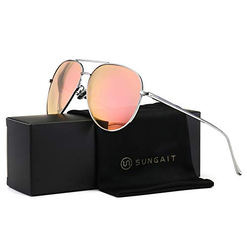 SUNGAIT Women's Lightweight Oversized Aviator Sunglasses - Mirrored Polarized Lens (Silver Frame/Pink Mirror Lens, ()