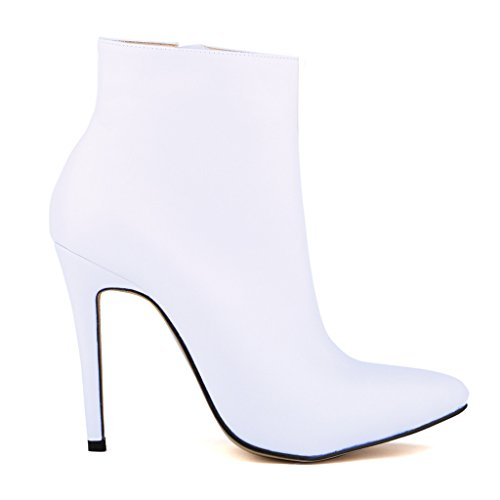 Heel Party Business for Stiletto Shoes Sexy ZriEy White Work Wedding Women's Booties zw1FTx