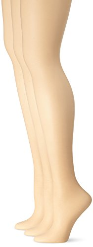 L'eggs Women's Silken 3 Pack Control Top Sheer Toe Panty Hose, Nude, A by L'eggs