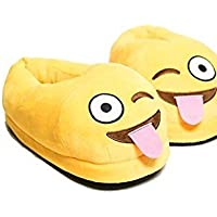 Unisex Naughty Emoji -Plush, Fully Covered Slip on Home Shoes- Warm, Comfortable Slippers