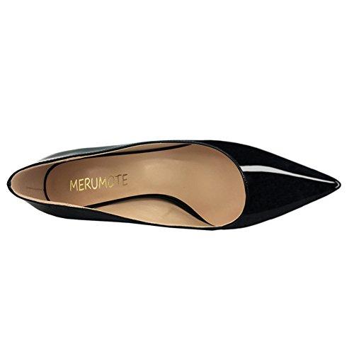 MERUMOTE Toe Heels Office Women's Pointy Black Shoes Pumps Kitten Work grgpqn