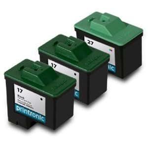 Printronic Remanufactured Ink Cartridge for Lexmark 17 10N0217 Lexmark 27 10N0227 (2 Black 1 Color)