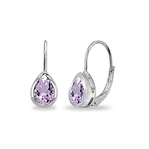 Sterling Silver Amethyst 7x5mm Teardrop Bezel-Set Dainty Leverback Earrings for Women Teen Girls