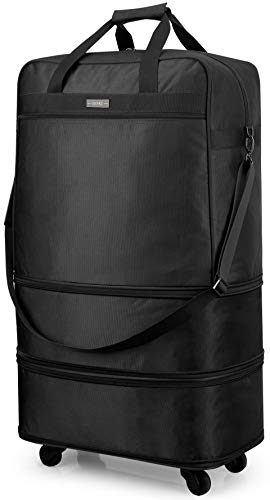 Hanke Expandable Foldable Suitcase Luggage Rolling Travel Bag Duffel Tote Bag for Men Women Lightweight Suitcase Large Capacity Luggage with Universal Wheels(Black) (Luggage Rolling Travel)
