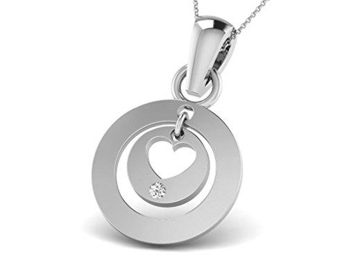 Or Blanc 18 ct Pendentifs Diamant en forme de rond, 0.01 Ct Diamant, GH-SI, 0.56 grammes.